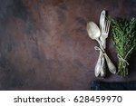 vintage cutlery silverware on a ... | Shutterstock . vector #628459970