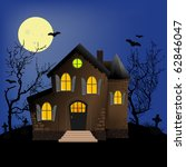 halloween horror scene or... | Shutterstock .eps vector #62846047