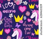 cute princess seamless pattern...   Shutterstock .eps vector #628463339