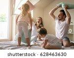 family having funny pillow... | Shutterstock . vector #628463630