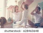 family having funny pillow... | Shutterstock . vector #628463648