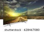 4k monitor isolated on white. ... | Shutterstock . vector #628467080