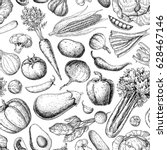vegetable seamless pattern.... | Shutterstock .eps vector #628467146
