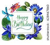 wildflower blue lotus flower... | Shutterstock . vector #628467860