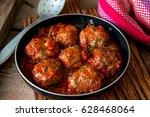 homemade roasted beef meatballs ... | Shutterstock . vector #628468064