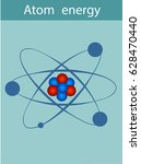 an atom consists of a nucleus ... | Shutterstock .eps vector #628470440