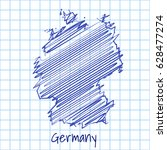 map of germany  blue sketch... | Shutterstock .eps vector #628477274