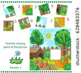 jigsaw puzzle game with farm... | Shutterstock .eps vector #628483376
