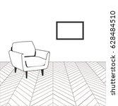 room with hardwood floor and... | Shutterstock .eps vector #628484510