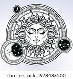 vintage hand drawn sun  moon ... | Shutterstock .eps vector #628488500