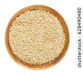puffed amaranth in wooden bowl. ... | Shutterstock . vector #628490480