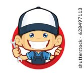 mechanic with circle shape | Shutterstock .eps vector #628497113