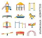 set of kids playground vector... | Shutterstock .eps vector #628497533