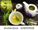 tea pot with cannabis tea in... | Shutterstock . vector #628505048