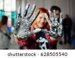 young person showing hands... | Shutterstock . vector #628505540
