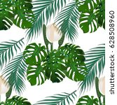 jungle. green tropical leaf ...   Shutterstock . vector #628508960