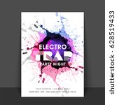 electro trap  party night flyer ... | Shutterstock .eps vector #628519433