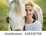 Portrait Of A White Horse And...