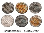 old rusty nail heads  isolated... | Shutterstock . vector #628523954