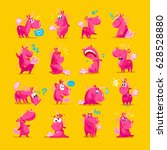 collection of flat funny... | Shutterstock . vector #628528880