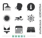 swimming pool icons. shower... | Shutterstock .eps vector #628540964