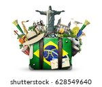 Stock photo brazil brazil landmarks travel and retro suitcase 628549640