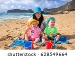 mother with twins on sun... | Shutterstock . vector #628549664
