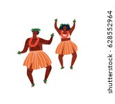 men and women dancing hula... | Shutterstock .eps vector #628552964