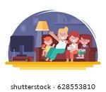 parents with children  watching ... | Shutterstock .eps vector #628553810