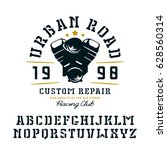 stencil plate serif font and... | Shutterstock .eps vector #628560314