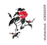 delicate elegant camellia... | Shutterstock . vector #628560359