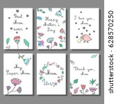 mother's day cards set with... | Shutterstock .eps vector #628570250