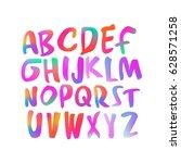 colorful handwritten script... | Shutterstock .eps vector #628571258