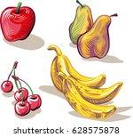 freshly picked ripe fruit. | Shutterstock .eps vector #628575878