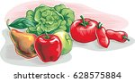 apples  pears  tomatoes  salad. | Shutterstock .eps vector #628575884