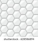 white tiles floor  hexagons ... | Shutterstock .eps vector #628586894