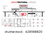 architectural layouts in trendy ... | Shutterstock .eps vector #628588820