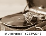 old vintage record player vinyl ...   Shutterstock . vector #628592348