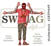the guy in tattoos   swag style.... | Shutterstock .eps vector #628594649