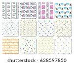 set of seamless memphis... | Shutterstock .eps vector #628597850