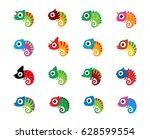 cute chameleon cartoon vector | Shutterstock .eps vector #628599554