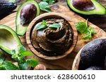raw avocado chocolate mousse... | Shutterstock . vector #628600610