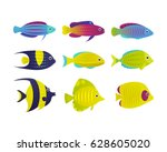 set of vector coral reef fish.... | Shutterstock .eps vector #628605020