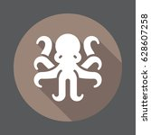 octopus  mollusk flat icon.... | Shutterstock .eps vector #628607258