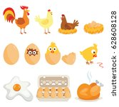 set of farm animals  vector... | Shutterstock .eps vector #628608128