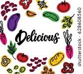 colotful vegetables... | Shutterstock .eps vector #628608560