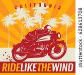 biker riding a motorcycle ...   Shutterstock .eps vector #628613708