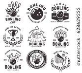 bowling set of vector emblems ... | Shutterstock .eps vector #628629233