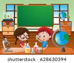 classroom scene with kids doing ... | Shutterstock .eps vector #628630394