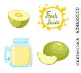 vector set of natural fresh... | Shutterstock .eps vector #628633550